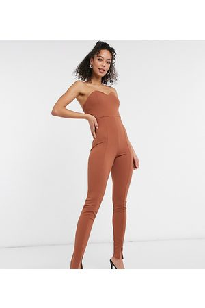 ASOS ASOS DESIGN tall bandeau split leg unitard in brown