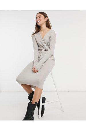 Style Cheat Senhora Vestidos de Festa - Loren wrap knit midi dress with tie in grey-Blue