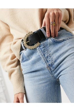 ASOS Waist and hip jeans belt with diamante buckle-Black