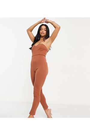 ASOS ASOS DESIGN petite bandeau split leg unitard in brown