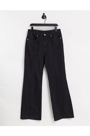 Weekday Orian co-ord organic cotton flared pinstripe jeans in-Black