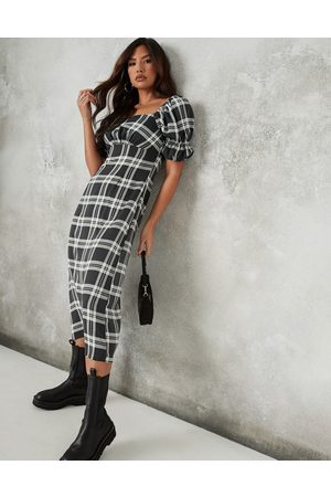 Missguided Midi dress with puff sleeve and ruched detail in black check
