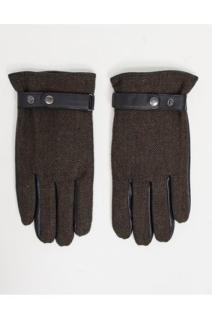 ASOS Touchscreen leather driving gloves in brown with herringbone detail