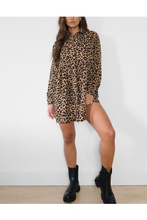 Missguided Shirt dress in leopard-Brown