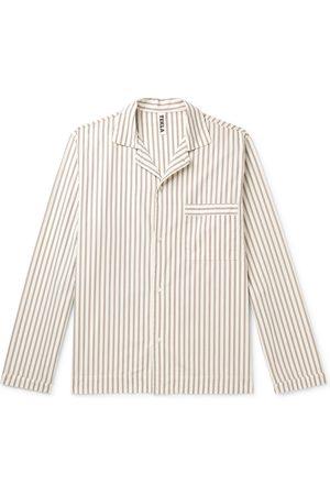 Tekla Homem Pijamas - Camp-Collar Striped Organic Cotton-Poplin Pyjama Shirt