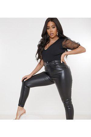 Missguided Senhora Calças em Pele - Faux leather trouser in black
