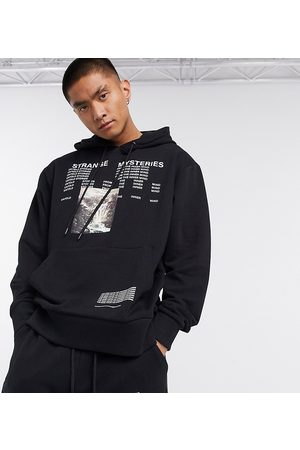 Collusion Homem Camisolas com capuz - Hoodie with text print in black co-ord