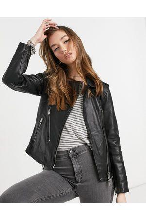 AllSaints Elva leather biker jacket in black