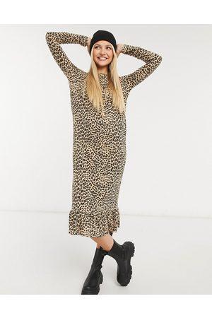 Daisy Street Midaxi smock dress in leopard print-Brown