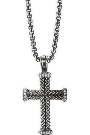 David Yurman Homem Colares - Sterling diamond cross pendant