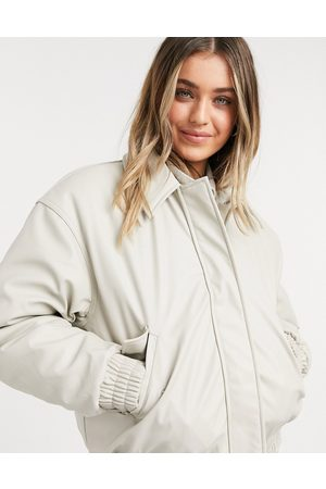 ASOS Leather look padded bomber jacket in putty-Blue