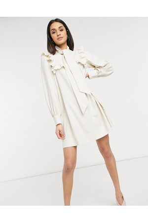 & OTHER STORIES Smock mini dress with ruffle detail in cream
