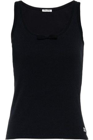 Miu Miu Bow-embellished ribbed knitted top