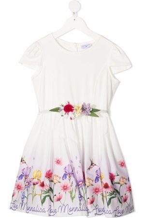 MONNALISA Appliqué detail floral print dress