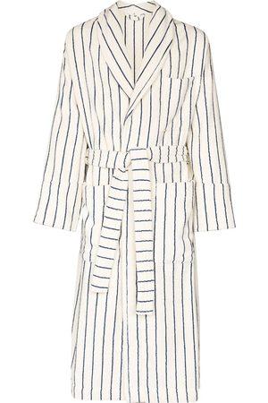 Tekla Stripe print tied waist robe