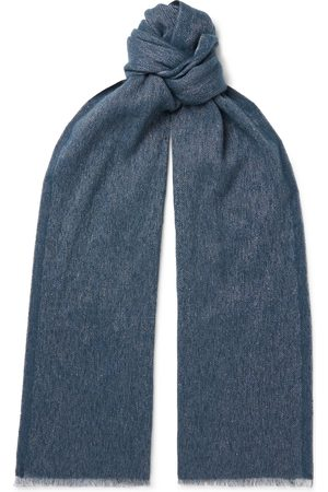 Loro Piana Homem Cachecóis & Echarpes - Fringed Mélange Baby Cashmere and Linen-Blend Scarf