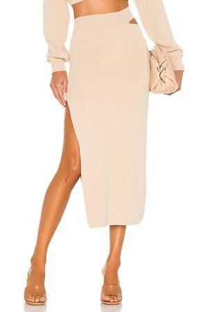 Michael Costello X REVOLVE Cut Out Knit Midi Skirt in - Beige. Size L (also in XXS, XS, S, M, XL).