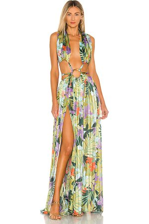 Bronx and Banco Tropics Maxi Dress in - Green,Blue. Size L (also in M, S, XS).