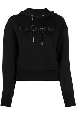Balmain Embellished-logo cropped hoodie