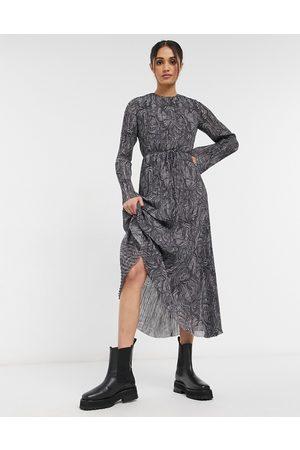 & OTHER STORIES Recycled marble print plisse maxi dress in grey