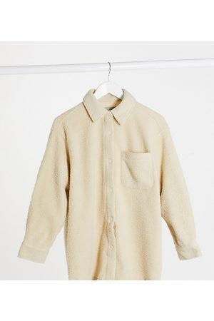 ASOS Petite fleece shacket in cream-Beige