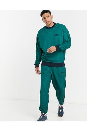 ASOS Actual Co-ord oversized joggers in teal reverse loopback with wash and embroidery-Green