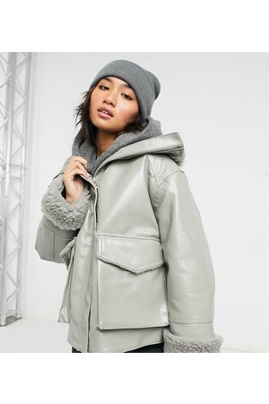 ASOS Petite leather look jacket with borg lining in sage-Multi