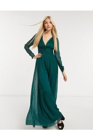 ASOS Bridesmaid ruched waist maxi dress with long sleeves and pleat skirt-Green