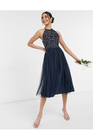Maya Bridesmaid halter neck midi tulle dress with tonal delicate sequin in navy