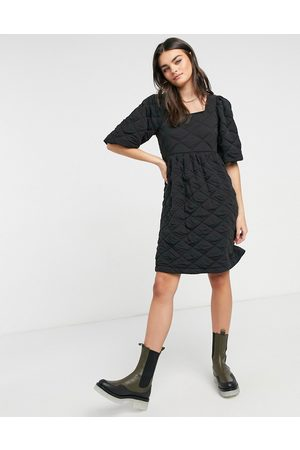 Vero Moda Quilted mini dress with puff sleeve in black