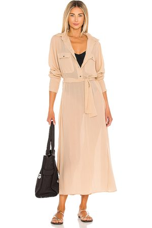 ACACIA Georgia Tencel Dress in - Neutral. Size L (also in M, S, XS).