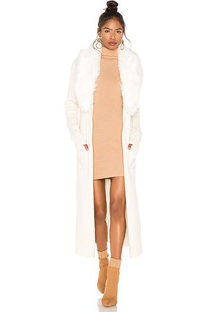 Show Me Your Mumu Lombardi Faux Fur Long Cardigan in - Ivory. Size L (also in M, S).