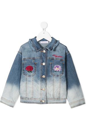 MONNALISA Bleached denim jacket with embroidered detail