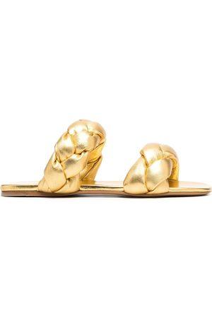 Miu Miu Senhora Sandálias - Metallic interwoven flat sandals