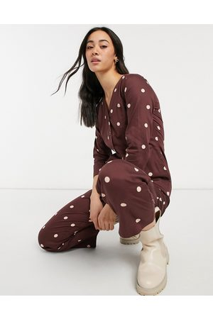 People Tree Organic relaxed jumpsuit in spot print-Brown