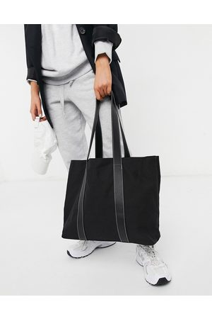 ASOS Canvas tote bag with PU straps in black