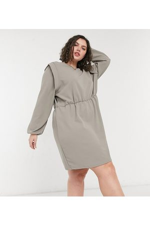 ONLY Mulher Vestidos Casual - Jersey mini dress with strong shoulder in grey-Multi