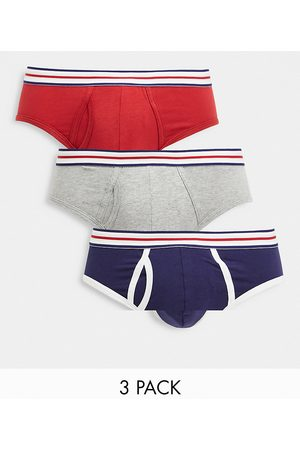 ASOS 3 pack briefs with striped waistband-Multi