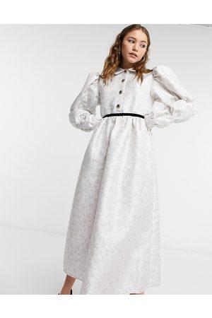 Sister Jane Midi smock dress in cream jacquard-Multi