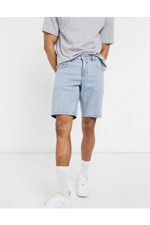 ASOS Stretch slim denim shorts in light wash blue
