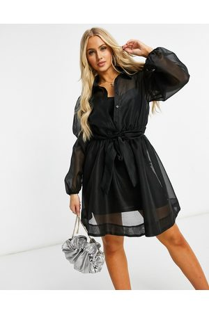 Missguided Organza shirt dress with long sleeve in black