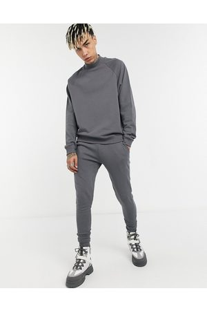 ASOS Funnel neck tracksuit with skinny jogger in dark grey