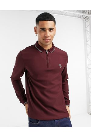 River Island Maison long sleeve slim polo in burgundy-Red