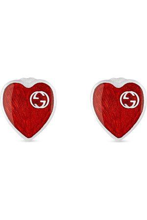 Gucci GG logo heart earrings