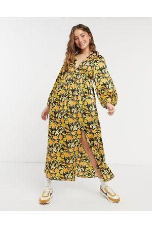ASOS Plunge neck midi dress in floral print-Multi