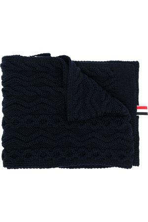 Thom Browne ARAN CABLE SCARF W/ 4 BAR IN FINE MERINO WOOL