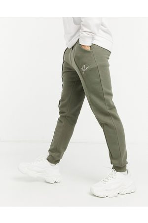 Jack & Jones Premium co-ord cuffed joggers with script logo in khaki-Green