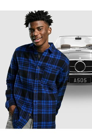 ASOS Wool mix overshirt in blue and black tartan check