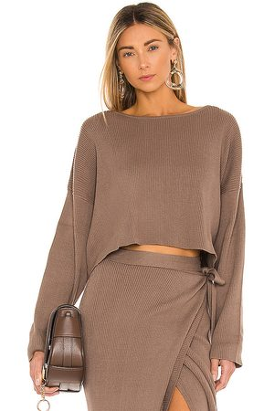 SNDYS Cece Knit Top in - Brown. Size L (also in M, S, XS).