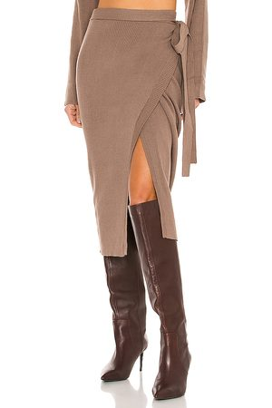 SNDYS Cece Knit Skirt in - Brown. Size L (also in M, S, XS).